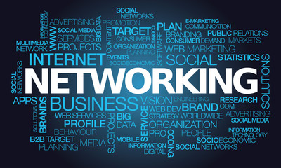 Networking social network business words text tag cloud