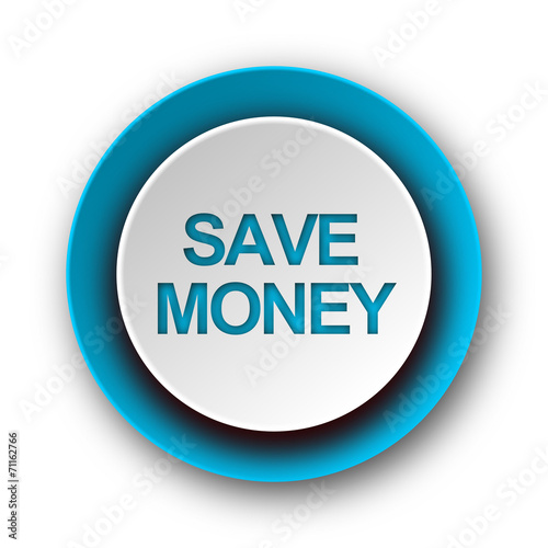 canvas print picture save money blue modern web icon on white background