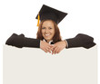 Graduate girl with  blank banner