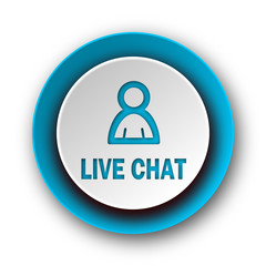 live chat blue modern web icon on white background