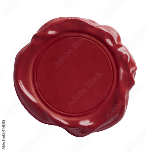 red wax seal isolated with clipping path included