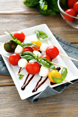 appetizer with tomatoes and mozzarella