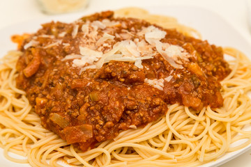 Parmesan Cheese on Spaghetti Bolognese