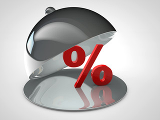 Percent sign in a chrome bowl to serve discounts
