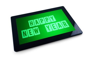 Happy New Year message on Generic Tablet computer display