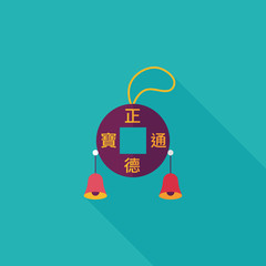 Chinese New Year flat icon with long shadow,eps10, Kosen Lucky p