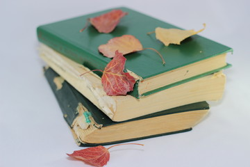 Old books and autumn leaves