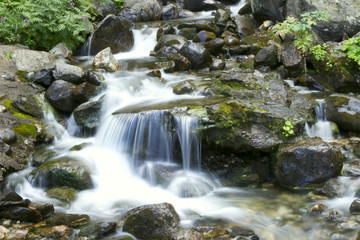 Small mountain waterfall among the rocks.