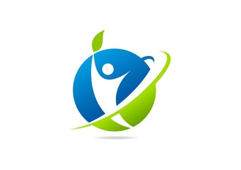 green global theraphy logo Vector, healthy body icon