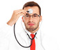 Tired doctor with stethoscope