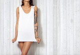Woman wearing blank sleeveless t-shirt - 71166191