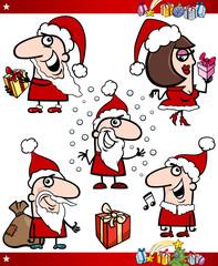 Santa and Christmas Themes Cartoon Set