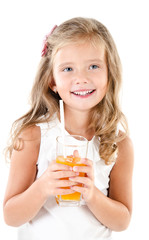 Smiling cute little girl with glass of juice isolated