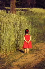 the offended little girl in red dress