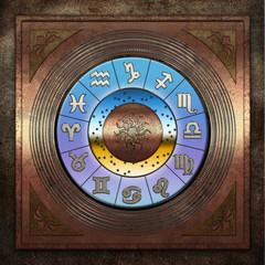 Zodiac Metallplatte Fenster