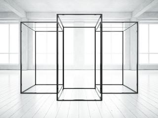 Loft interior with presentation construction