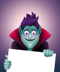 funny good vampire holding blank Halloween card