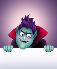 evil vampire holding empty banner, Halloween illustration