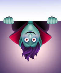 vampire hanging upside down, Halloween banner