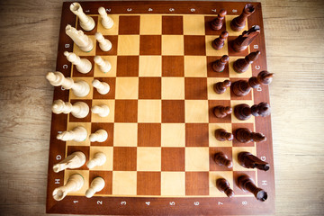 Wooden chess board with figures