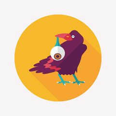 Halloween crow and eyeball flat icon with long shadow,eps10