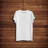 Fototapety White t-shirt on wood wall