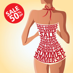 summer, sale, shopping, woman, typography, swimming suit