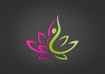 lotus healthy spa logo, pretty pose woman icon