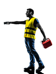 caucasian man safety vest gasoline can  silhouette