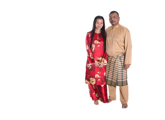 Middle age Malay couple over white background