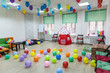 Children's room decorated with balloons ready for the holiday