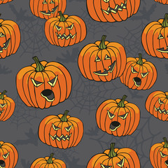 Halloween seamless pattern.Pumpkin,spider web,bat