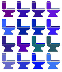 Icons Toilet different colors. Raster