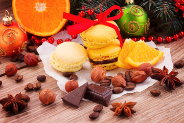 yellow macaroons with christmas  decorations