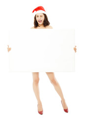 pretty young woman holding a empty white board.isolated on white