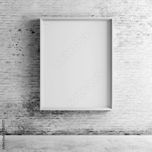 3d blank boards on white vintage brick wall - 71169777