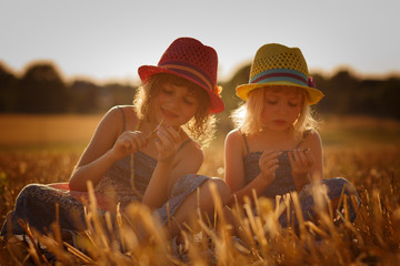 Two girls in a cornfield before sunset