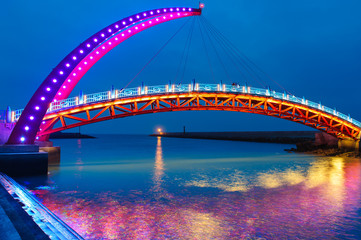 night view of a beautiful bridge in miaoli, taiwan
