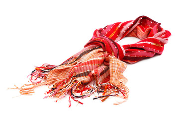 Red scarf with tassels, on white background.