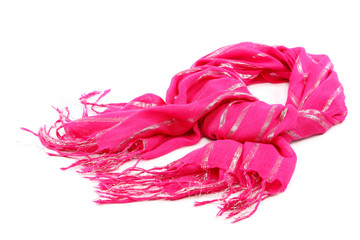 Pink scarf with tassels, on white background.