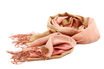 Pink scarf with tassels on white background.