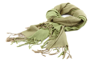 Green scarf with tassels on white background.