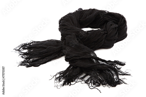 Black scarf with tassels on white background. - 71170387