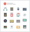 Pixel perfect sound flat icons set