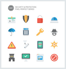 Pixel perfect security and protection flat icons