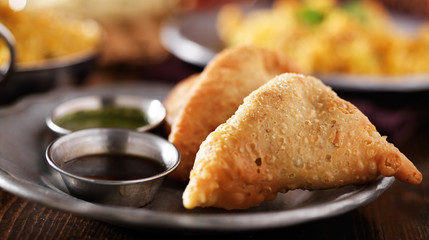 indian samosa with mint and hot chutney panorama