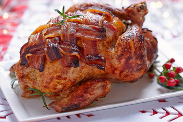 Whole roasted chicken with bacon