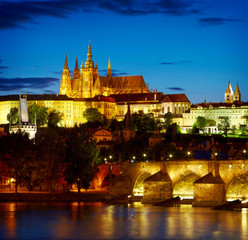 Prague Castle after sunset. Czech republic