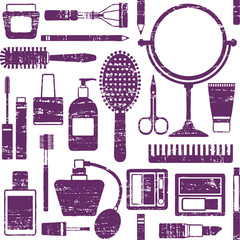 Scratched seamless pattern with various cosmetic objects