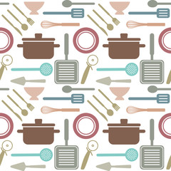Vector seamless pattern with cooking related objects 1